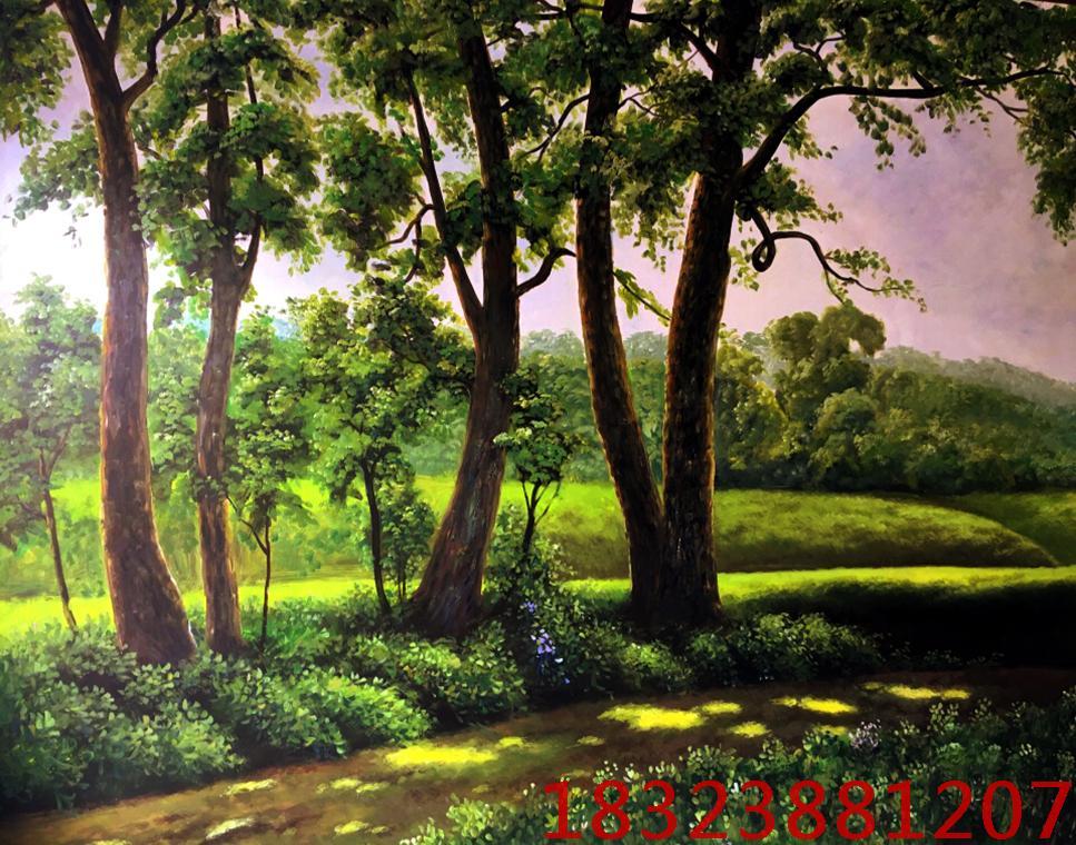 森林手绘墙画局部